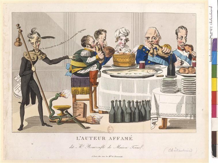 """Caricature de Châteaubriand: """"L'auteur affamé, dit monsieur Boursouflé de Maison Fernel"""""""