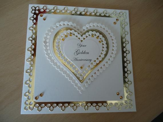 Golden Wedding Anniversary Card for Wife/Husband/Mum&Dad/Friends etc.   Free Delivery to UK #mumsetc