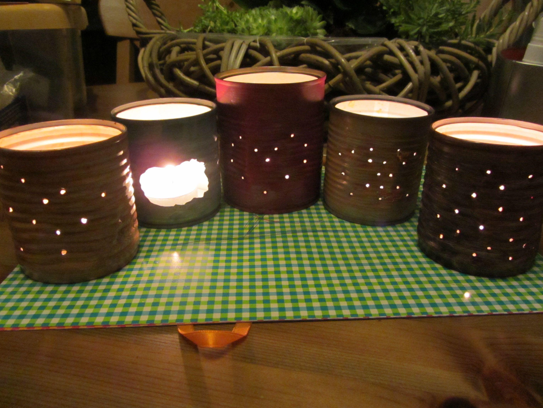 Kaarsenstandaards gemaakt van Groente Blikjes ... made by Ineke.