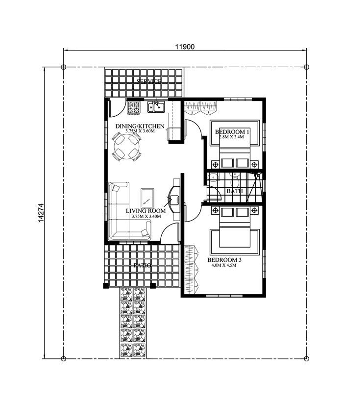 Php 2015017 Floor Plan Small House Images Small House Design