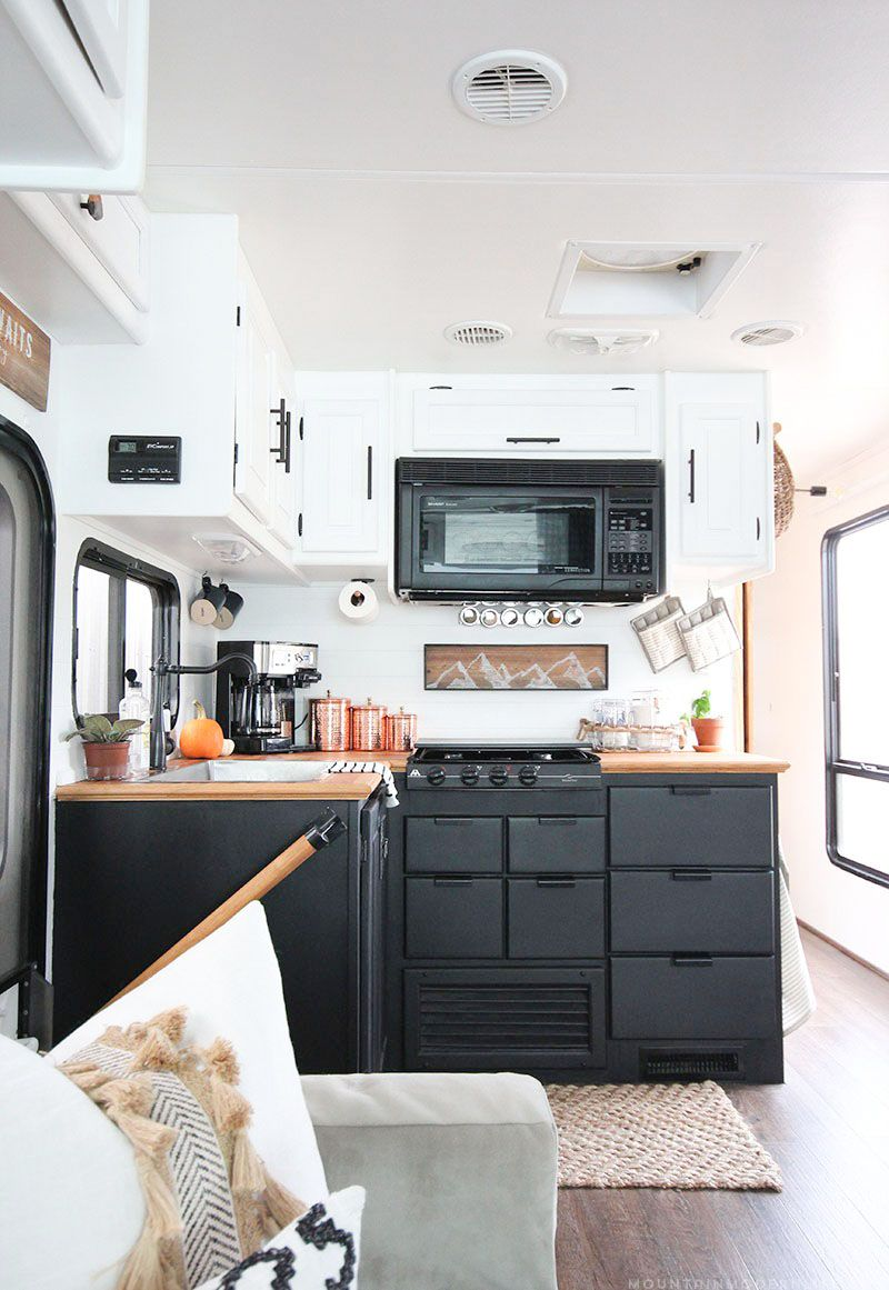Thinking About Updating The Kitchen In Your Camper Come See How We Made A Huge Impact In Our Motorhome With Our Rv Kitchen Renovation Kitchen Remodel Design Kitchen Remodel Cost Rv