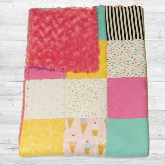 Ready to Ship  Ice Cream with Sprinkles Baby Crib Quilt and