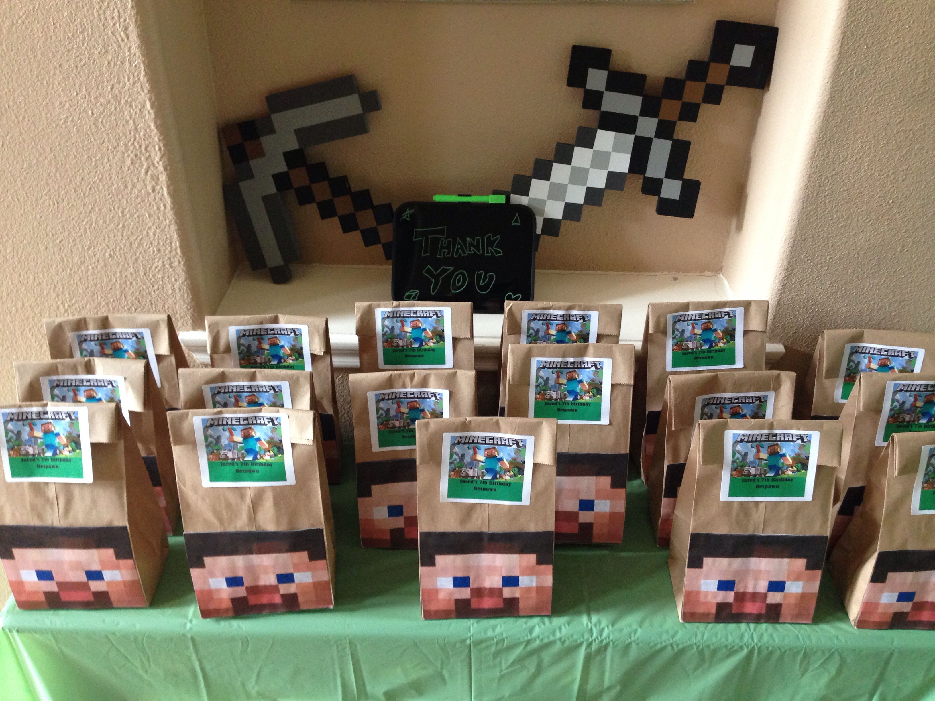 Minecraft Goodie Bags Sorry I Just Read Your Comment Found It