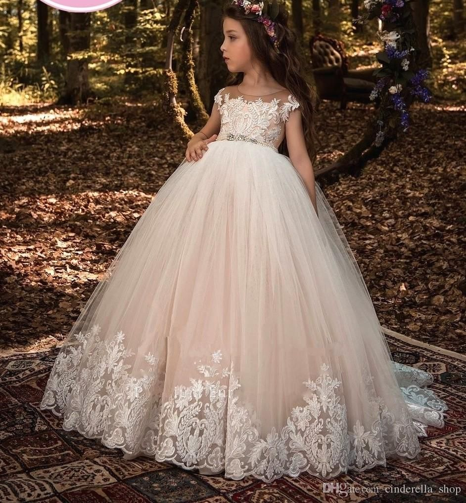 2018 Ball Gown Girls Pageant Dresses With Appliques Jewel Floor ...