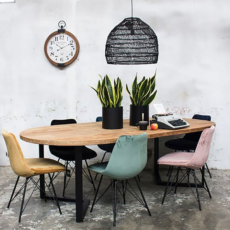 Industrial Dining Table Feby 240 X 120 Cm Oval Dining Table Solid
