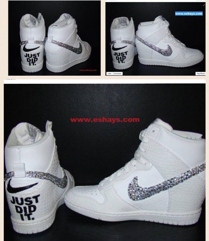 Wedding Custom Bling Rhinestone White Croc Nike Dunk Sky Hi Wedge Sneaker-  Just Did It 2b3515a59d7e