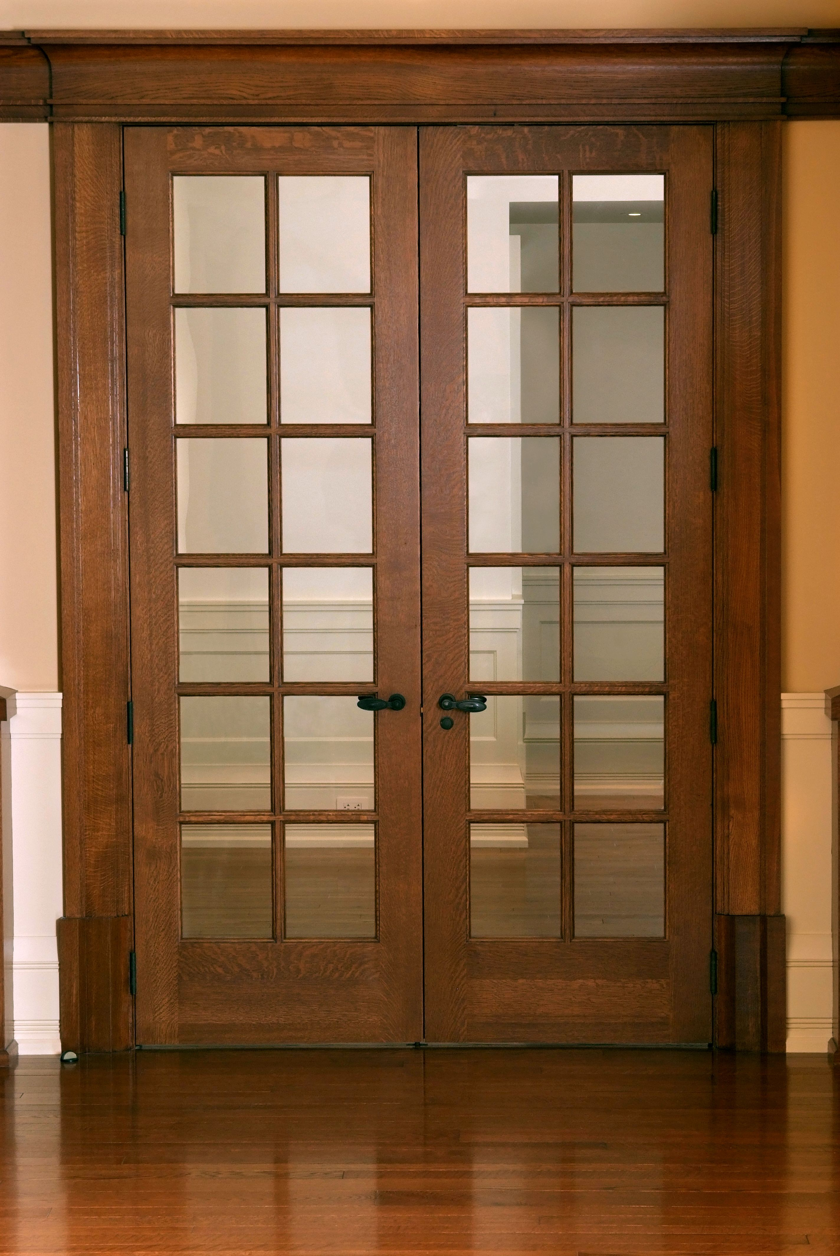 Custom 12 Panel Quarter Sawn White Oak 7 French Door With Qswo Craftsman Door Casing And Base Blocks Oak French Doors Craftsman Door Doors Interior