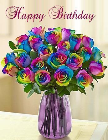 Happy Birthday Rainbow Colored Roses Images Followback Colors