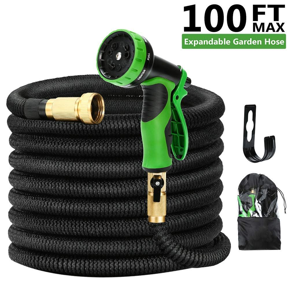 Kugoplay 100 Feet Expandable Garden Hose Pressure Expanding Water Hose With Leakproof Solid Brass Fittings 9 Fu Garden Hose Metal Garden Hose Brass Fittings
