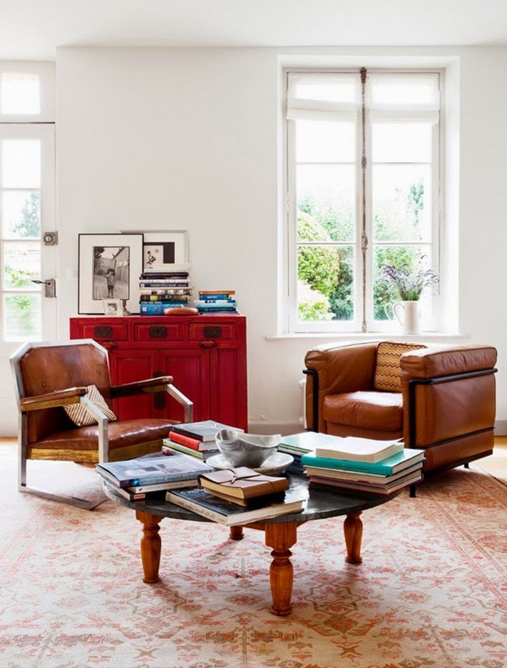 Perfect Interior: Charming Country House With Timeles Interiors With Brown Leather  Sofa Arm Chair Also Red Wooden Cabinet Drawer And Round Coffee Table Also  White ... Amazing Ideas