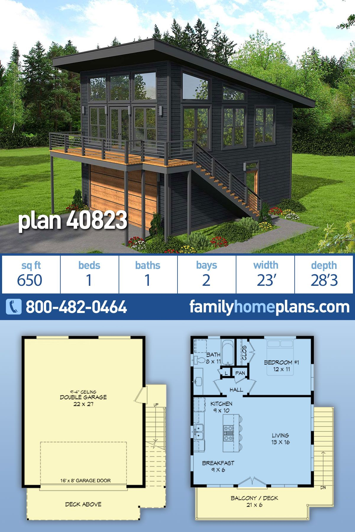 Modern Garage Apartment Plan #40823 One Bedroom and One Bathroom Over Two Car Garage