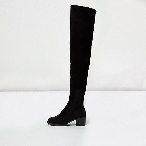 b45d890794b Black soft wide fit over the knee boots - River Island