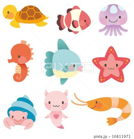 海 海の仲間 セット 森林 海の生き物 イラスト イラスト 海の生き物