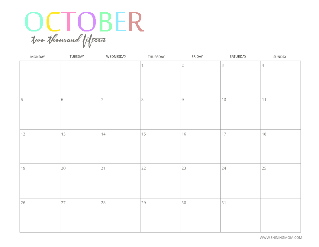 The printable 2015 monthly calendar by shiningmom is here the printable 2015 monthly calendar by shiningmom is here saigontimesfo