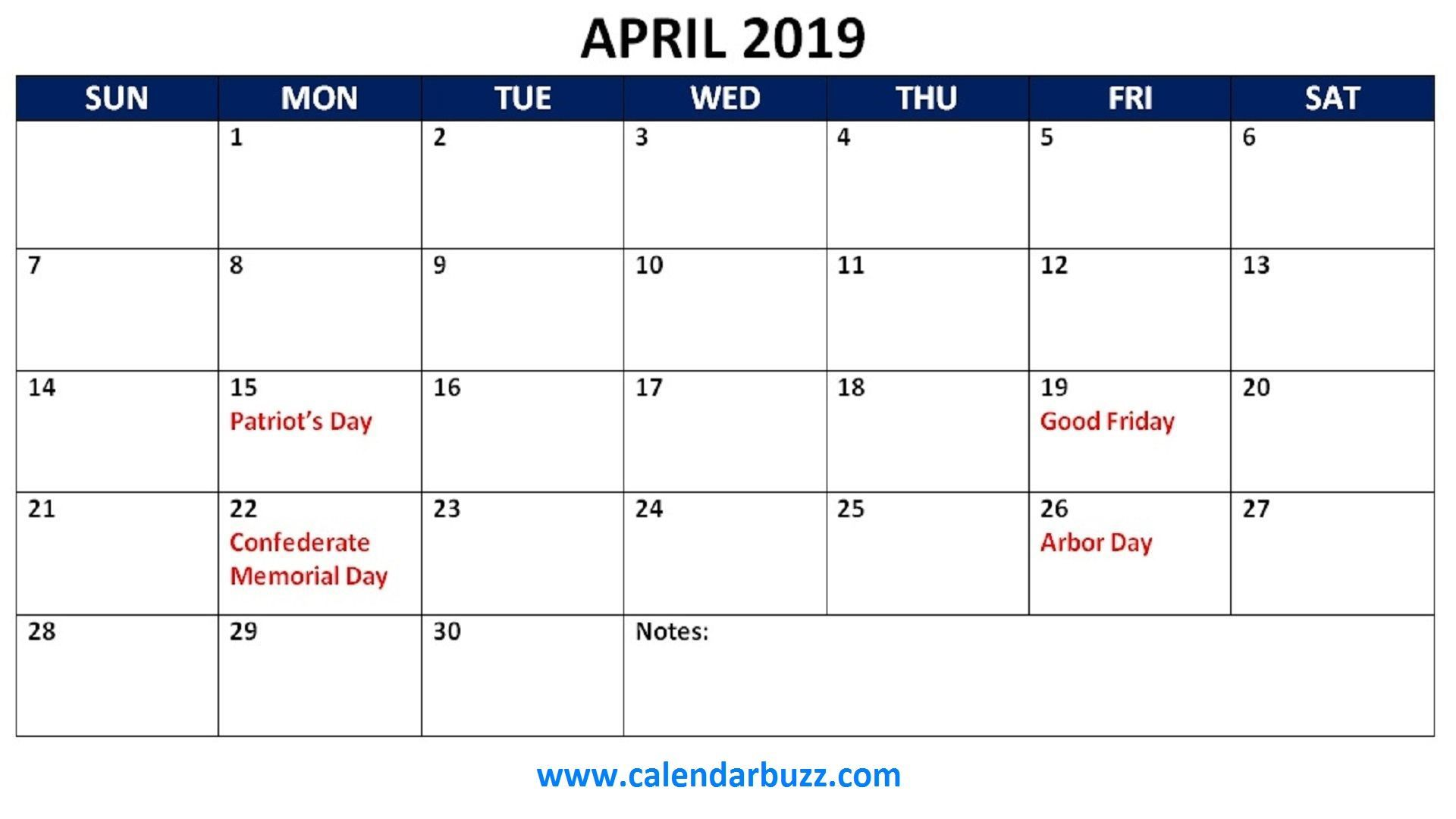 April 2019 Calendar With Holidays Holiday Calendar Printable