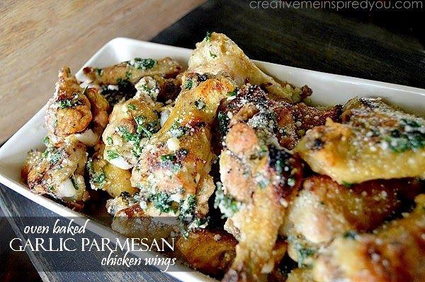 Oven Baked Garlic Parmesan Wings - CreativeMeInspiredYou #garlicparmesanshrimp