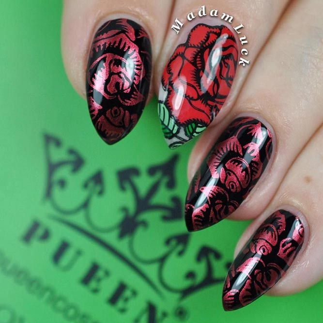 21 Fearless Combinations with Black Stiletto Nails | Black stiletto ...