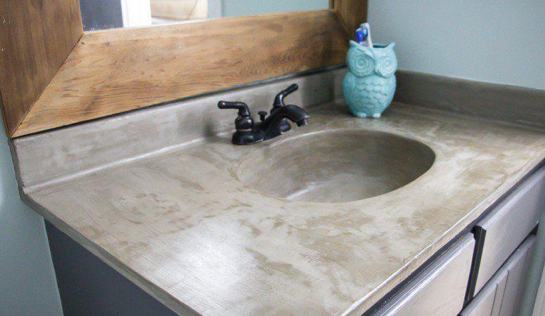 Diy Vanity Makeover Using Concrete Overlay Diy Bathroom Vanity