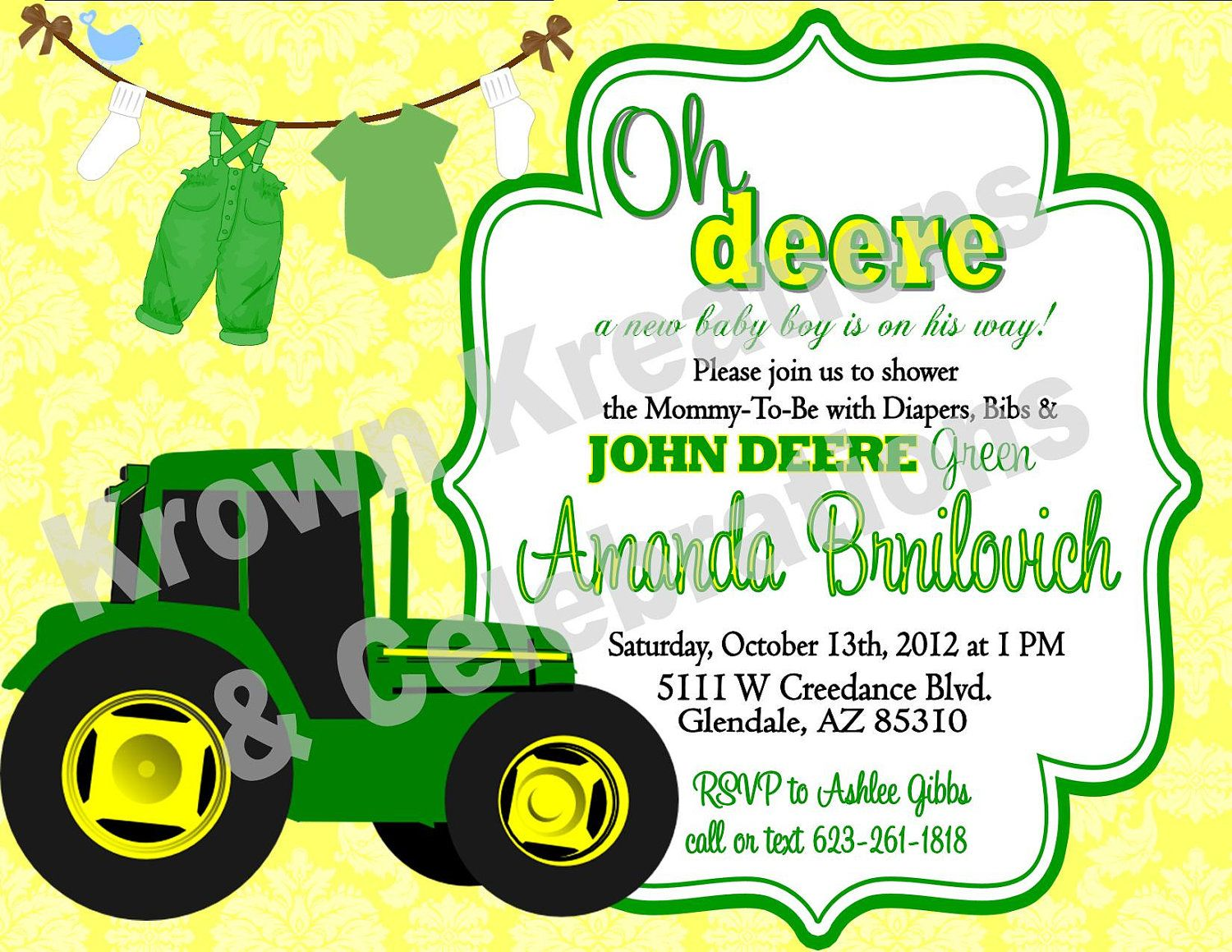 John Deere INVITATION - Printable Party Collection - Farm - Tractor- Boy  Birthday Party - Baby Shower - Farmer - Ranch - Krown Kreations
