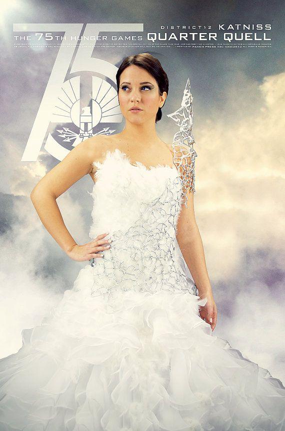Katniss Everdeen Mockingjay Wedding Interview Dress Cosplay Costume Hunger Games Catching Fire Hunger Games Costume Katniss Everdeen Katniss