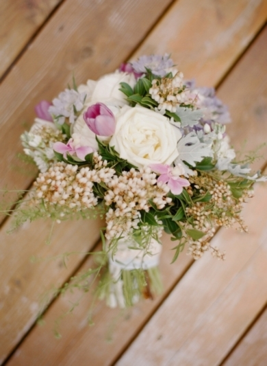 Gorgeous lavender, blush, gold and ivory flowers in this bouquet | Modern Rustic Herb Inspired Wedding Ideas From Every Last Detail — Photography by Lisa Hessel Photography — Loverly Weddings