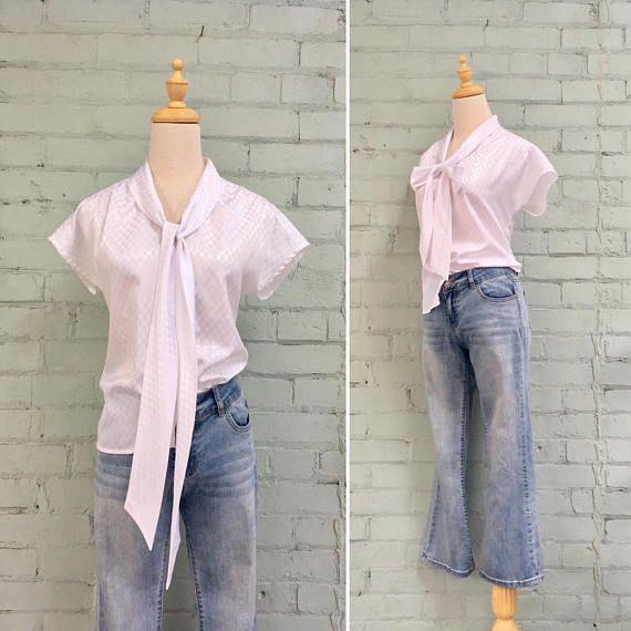 1980s Pussy Bow Blouse Style Pinterest White Sleeveless