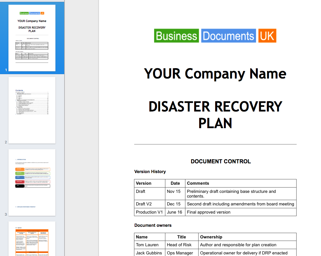 Disaster Recovery Principal Plan Template Business