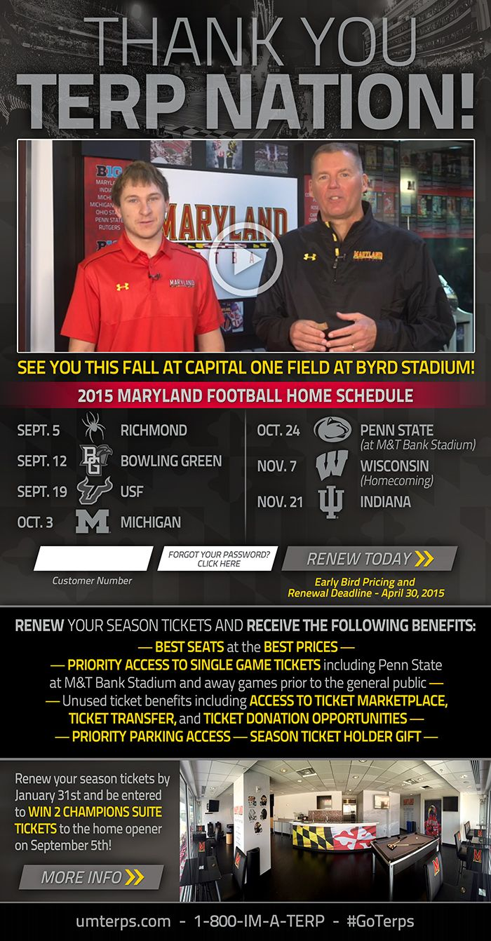 University Of Maryland Football Renewal Email Including Link To Thank You Video Home Schedule Season Ticket Holder College Athletics Season Ticket Big Ten