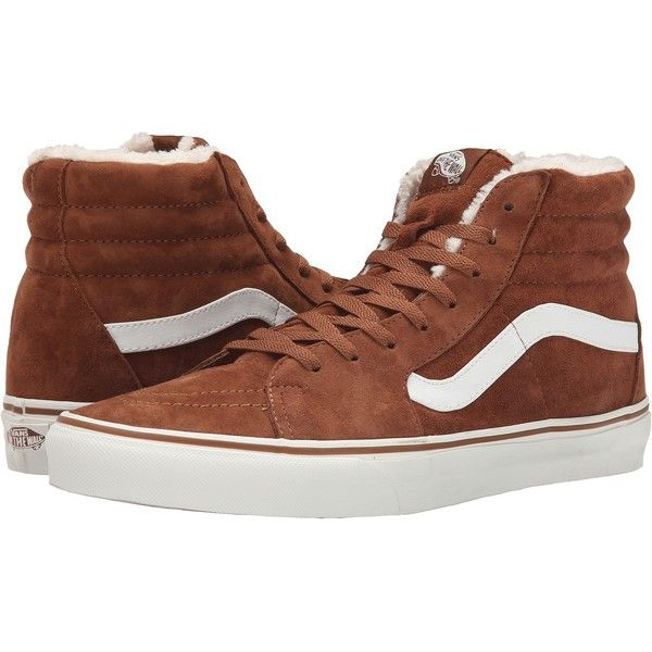 a0ac6e6076 Vans SK8-Hi ((Pig Suede Fleece) Monk s Robe Blanc) Skate Shoes ( 43) ❤  liked on Polyvore featuring shoes