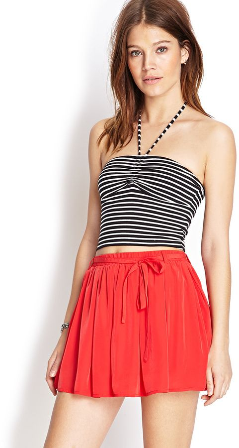 $9, Red Skater Skirt: Forever 21 Must Have Skater Skort. Sold by Forever 21. Click for more info: https://lookastic.com/women/shop_items/101886/redirect