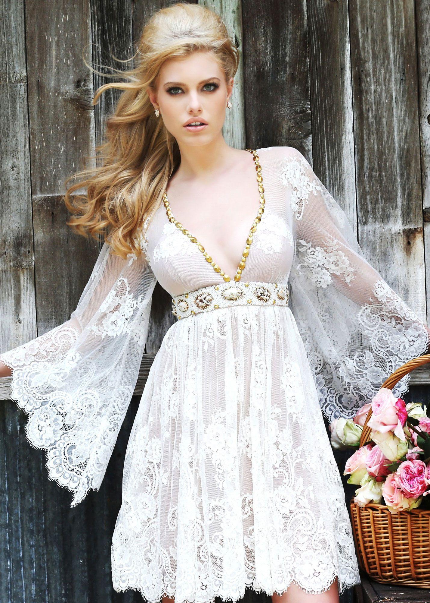 Sherri Hill 32260 - Romantic bohemian lace short dress with bell ...