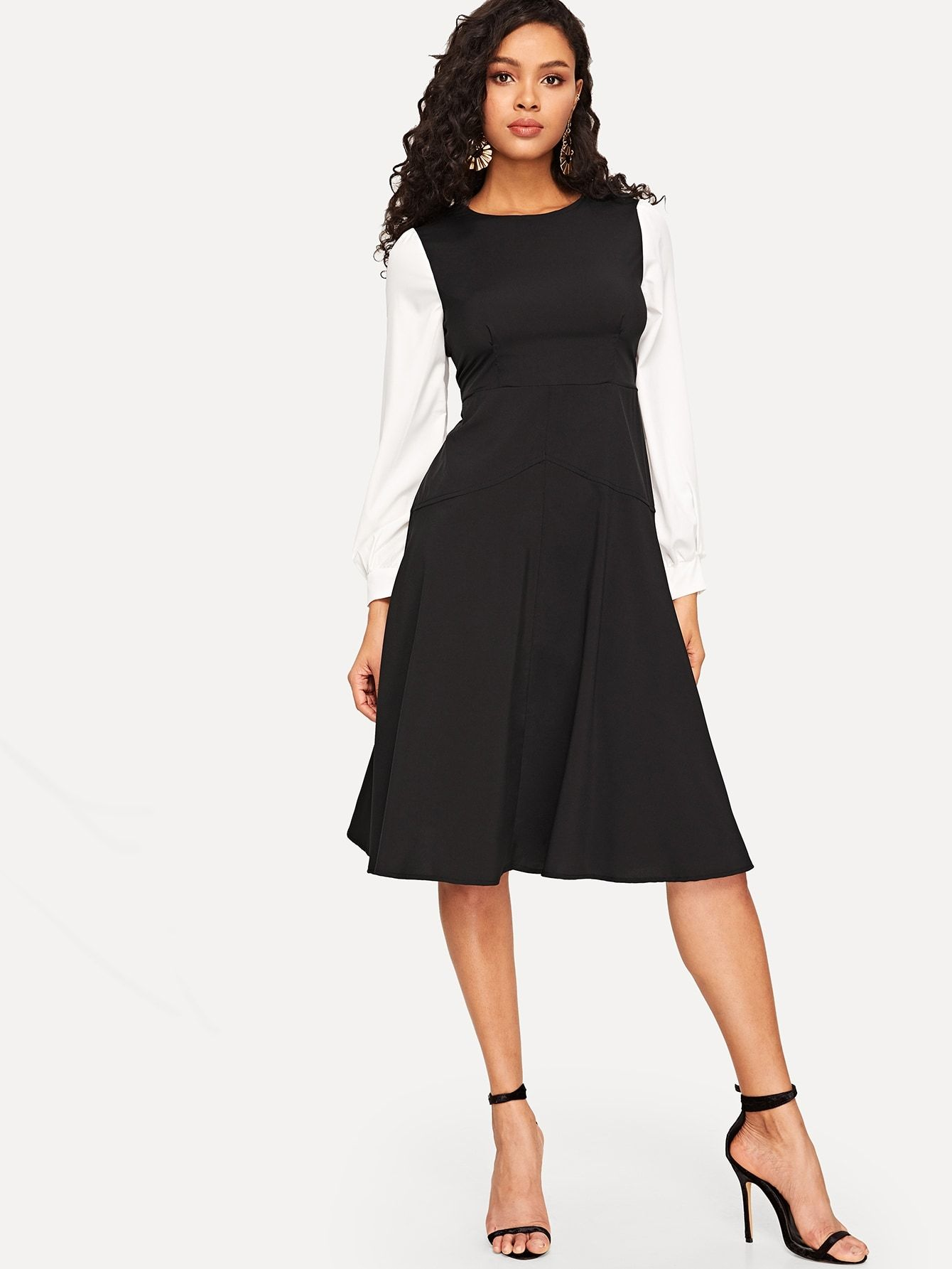 Contrast Sleeve Fit Fit Flare Dress Flare Dress Fit N Flare Dress