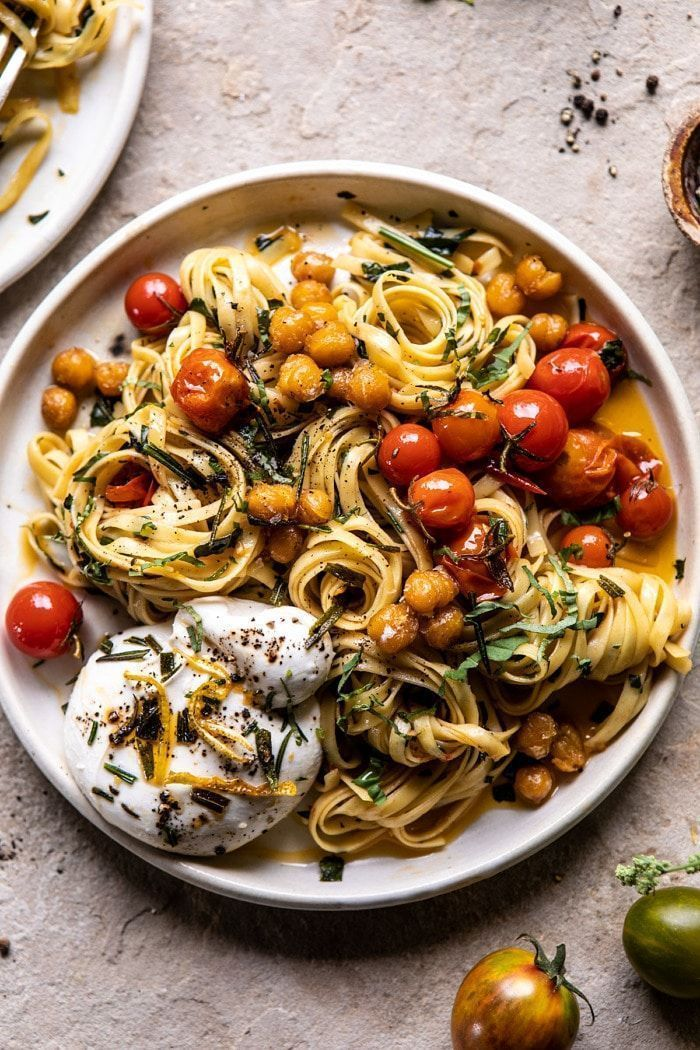 Jammy Cherry Tomato Pasta with Crisp Lemon Rosemary Chickpeas.