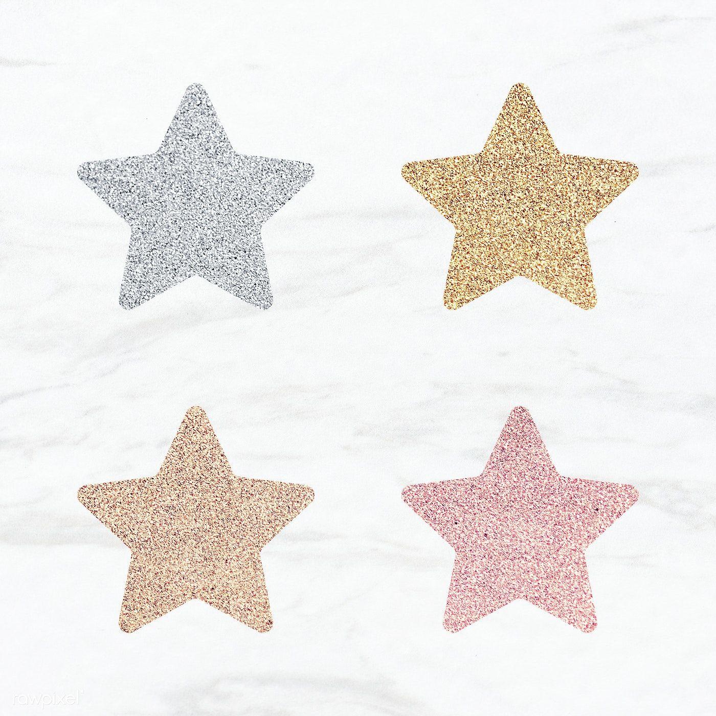 Glitter Star Sticker Set Illustration Free Image By Rawpixel Com Ningzk V Star Stickers Gold Star Stickers Pink Glitter Background