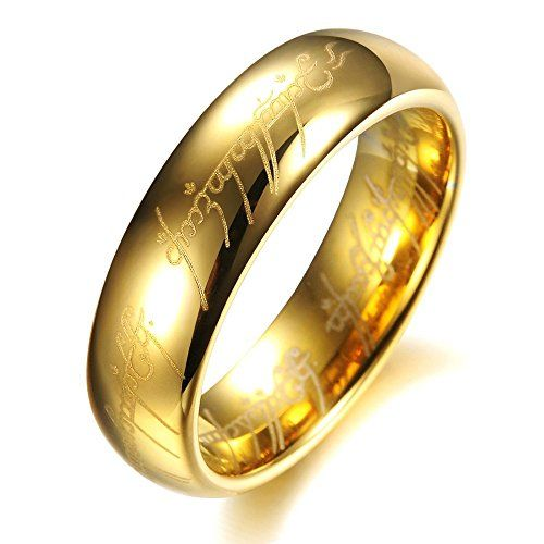 High End Lord of the Rings Gold Color Tungsten Carbide Ring Mens