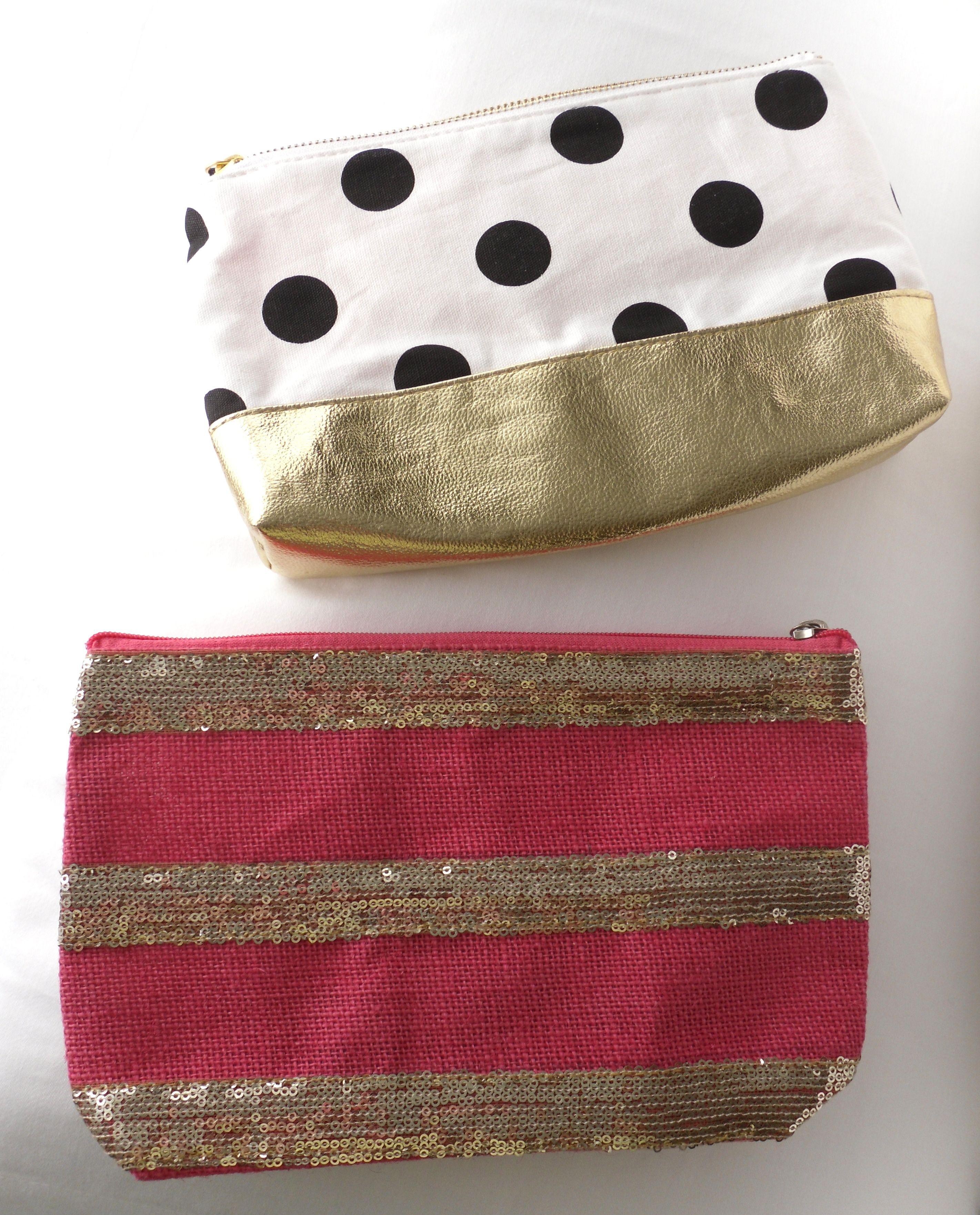 Forever21 black/white/gold polka dot cosmetic bag, pink
