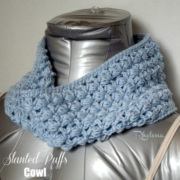 Slanted Puffs Cowl by Rhelena of CrochetN | Crochet | Pinterest ...