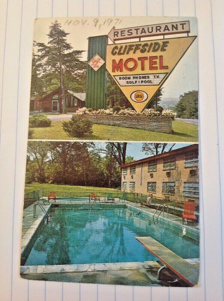 Cliffside Motel Restaurant Harpers Ferry West Virginia Postcard Neon Sign Pool In 2021 Pool Signs Harpers Ferry Neon Signs