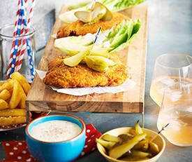 American-style fried chicken schnitzels