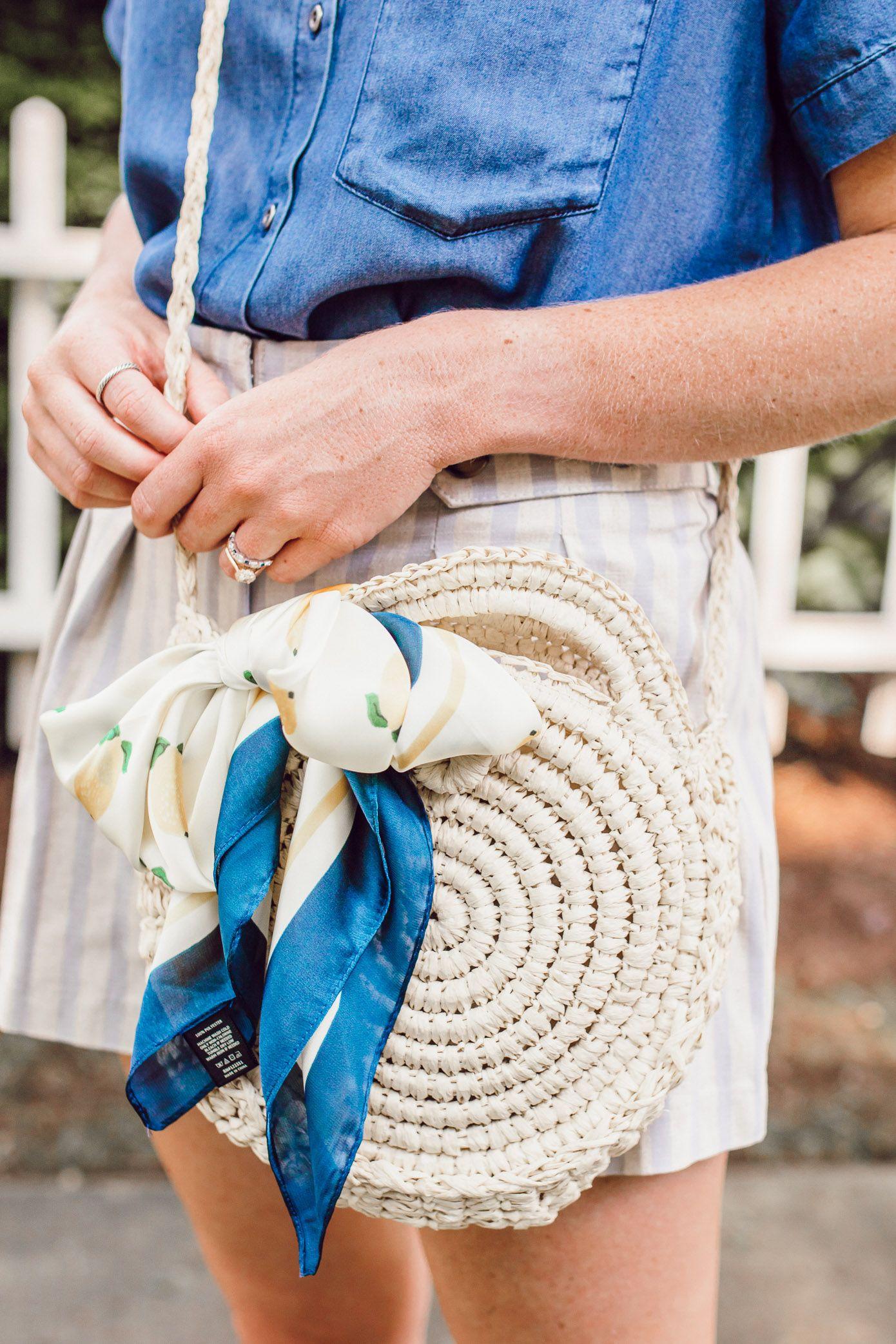 8a6b10cf0 Round Straw Crossbody Bag under $25, Lemon Print Scarf | Louella Reese