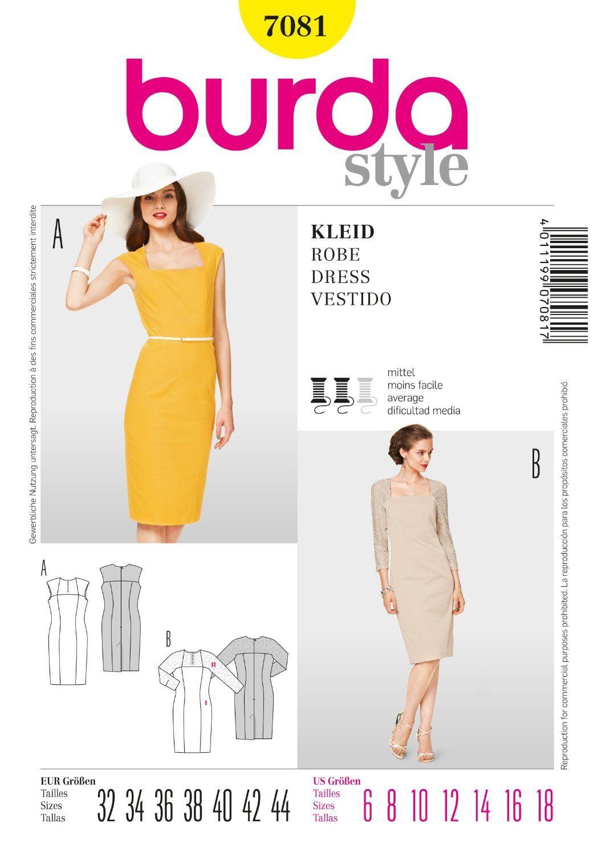 Burda B7081 - Patrón de costura para vestido (19 x 13 cm): Amazon.es ...