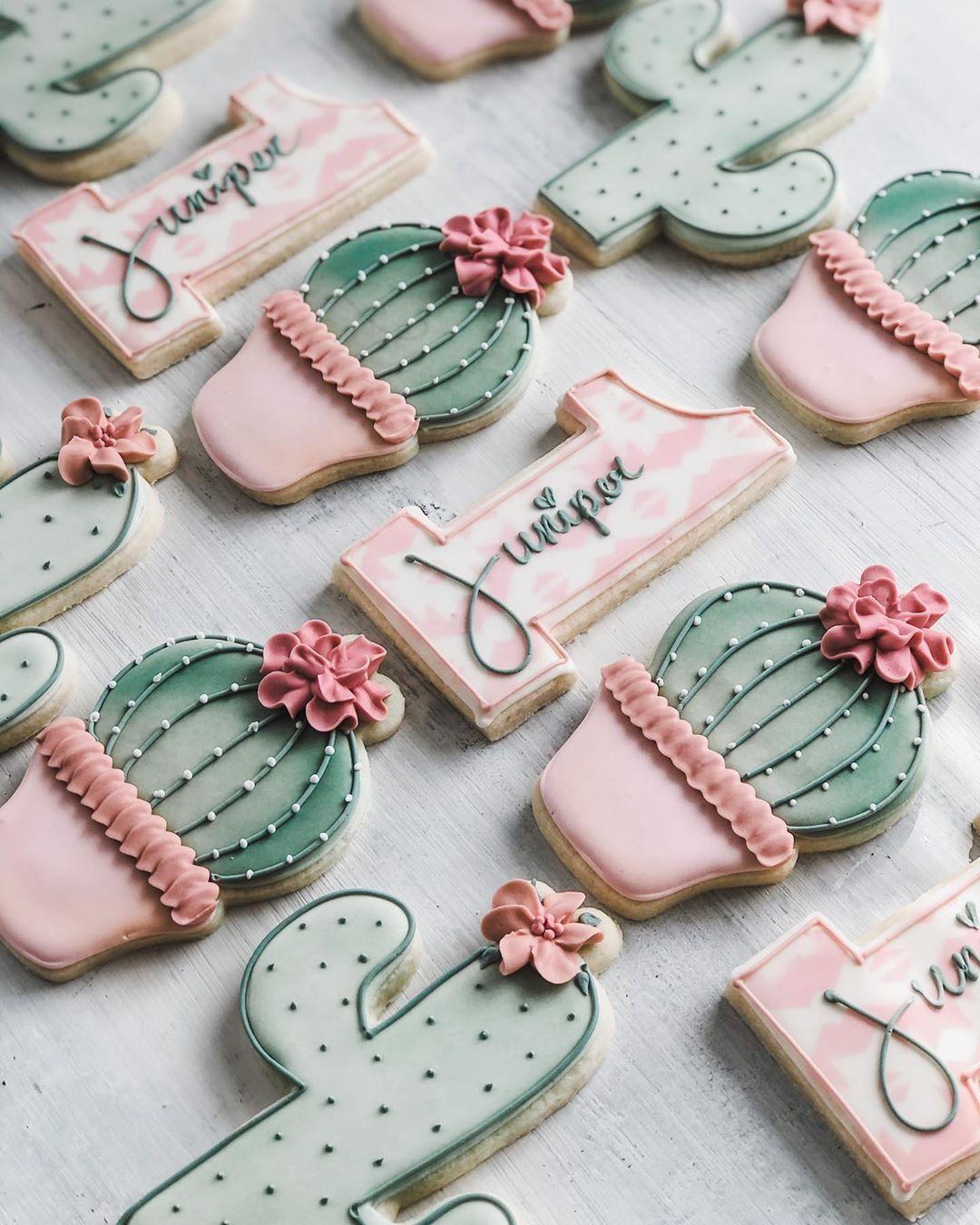 """Kyrsten's Sweet Designs on Instagram: """"🌵 Cactus themed 1st birthday cookies 🌸 #decoratedcookies #decoratedsugarcookies #sugarcookies #royalicingcookies #cookieart…"""""""
