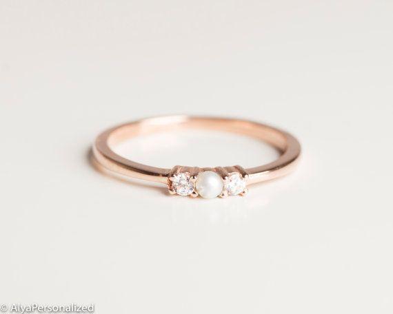 Anniversary Ring Simple Ring Band Thin Rose Gold Ring Etsy Pearl And Diamond Ring Simple Ring Band 14k Gold Ring Diamonds