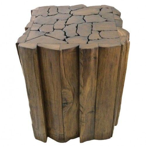 Reclaimed Teak Wood Jigsaw Accent Table/Stool