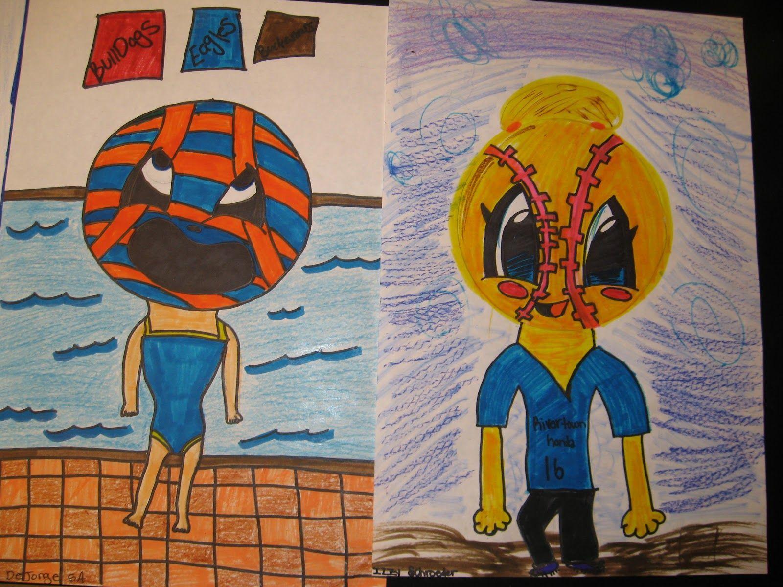 Jamestown Elementary Art Blog 5th Grade Cartoon Sports Heads Love These For Sub Plans
