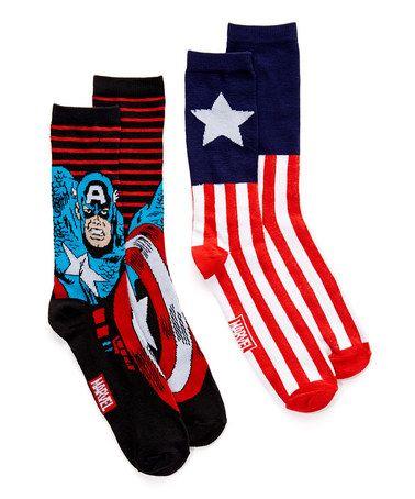 Look what I found on #zulily! Captain America Two-Pair Crew Socks Set - Men's Regular #zulilyfinds