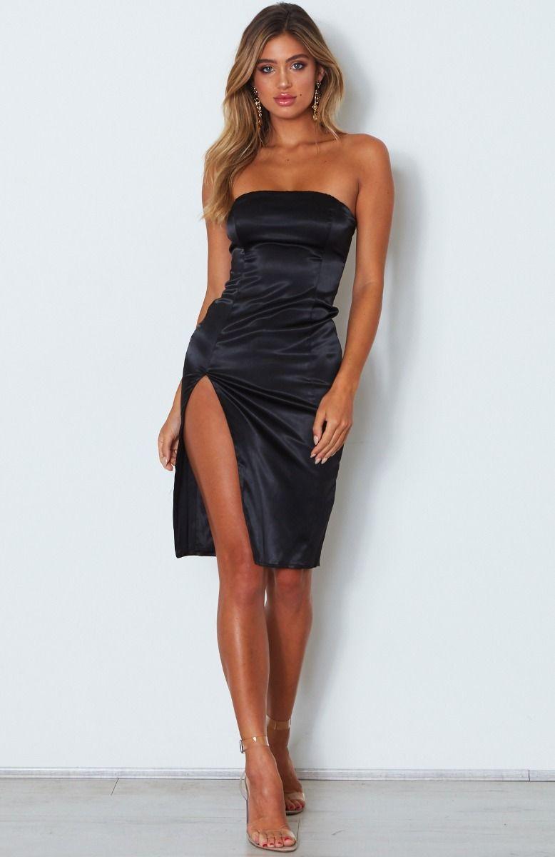 Khloe satin split dress black with images black dress