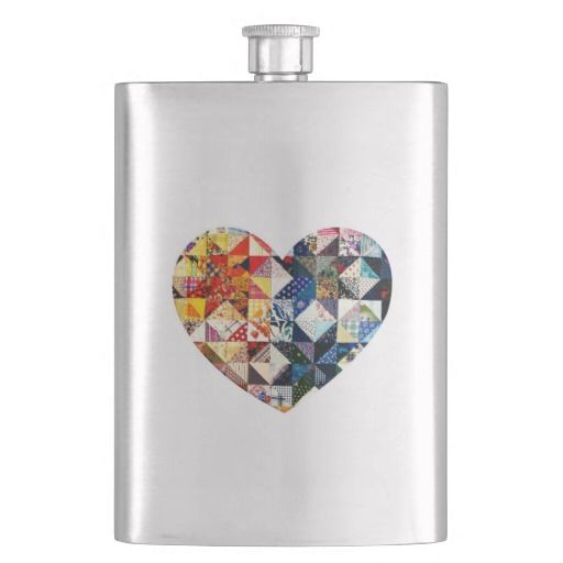 Colorful Patchwork Quilt Heart Flask