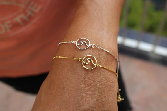 bracelet gift wrap bangle item ocean elemen natural from surfer opening silver in wire jewelry gold charm boho wave bangles beach
