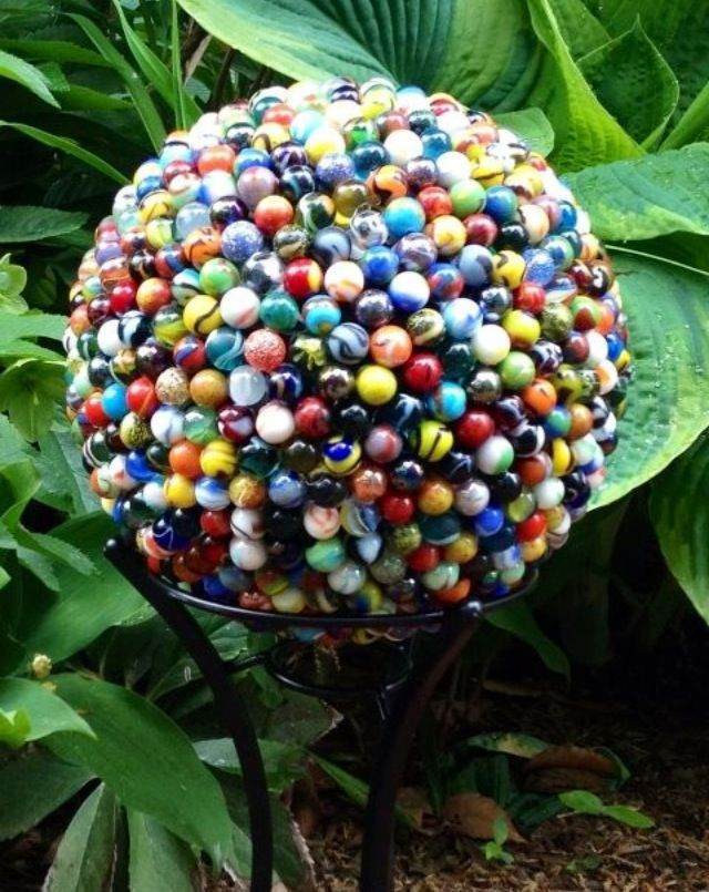 A Bowling Ball Covered In Marbles 714 To Be Exact Unique Garden Art Upcycle Garden Garden Globes